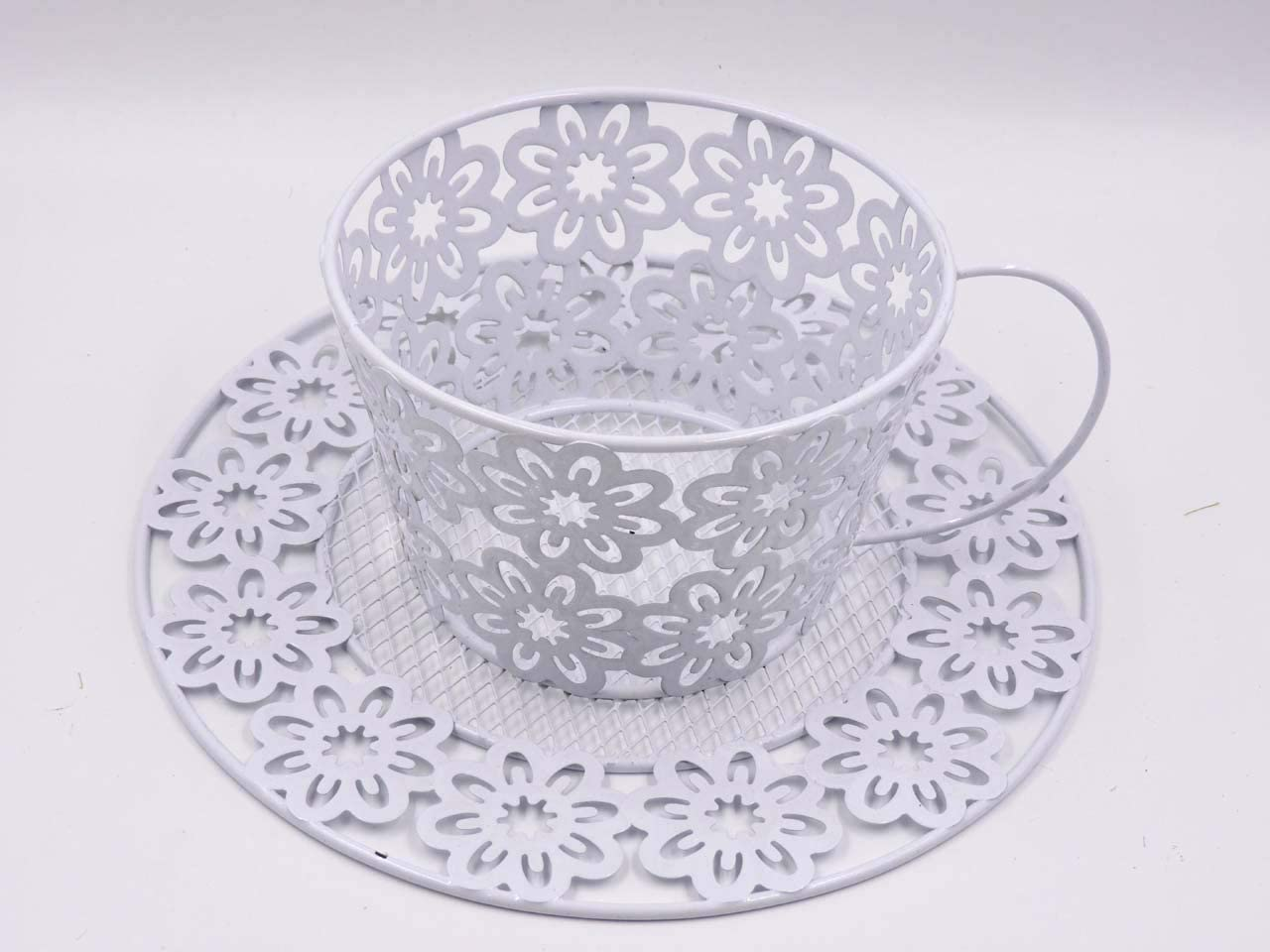 Shabby Chic Exquisite Tea Cup Shaped Floral Planter in White Color Wrought Iron, Home Decor