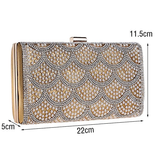 Shoulder Beaded Women red KYS Messenger Bag Day Small Evening Chain Clutches Bags Day Purse Clutches Evening Metal Bv5aq5x