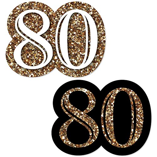 Big Dot of Happiness Adult 80th Birthday - Gold - DIY Shaped Birthday Party Cut-Outs - 24 Count