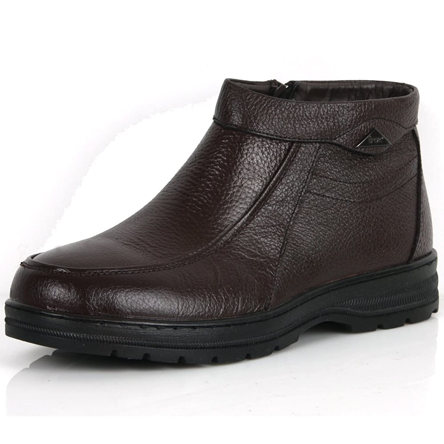 New Mens Casual Dress Leather Snow Warm Winter Slip on Ankle Boots Shoes Brown