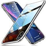 ESR iPhone XR ケース ガラスケース 強化ガラス TPUバンパー 9H硬度加工 薄型 全透明 滑り止め 全面保護 指紋防止 耐衝撃 ワイヤレス充電対応 6.1インチ ケース ネイキッド(クリア)