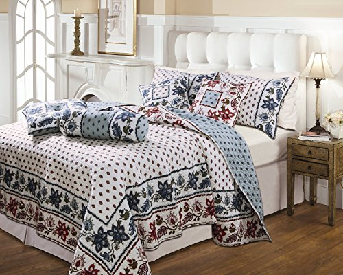 - Greenland Home Fashions Anna Marie Floral Medallion Full/Queen Quilt Set