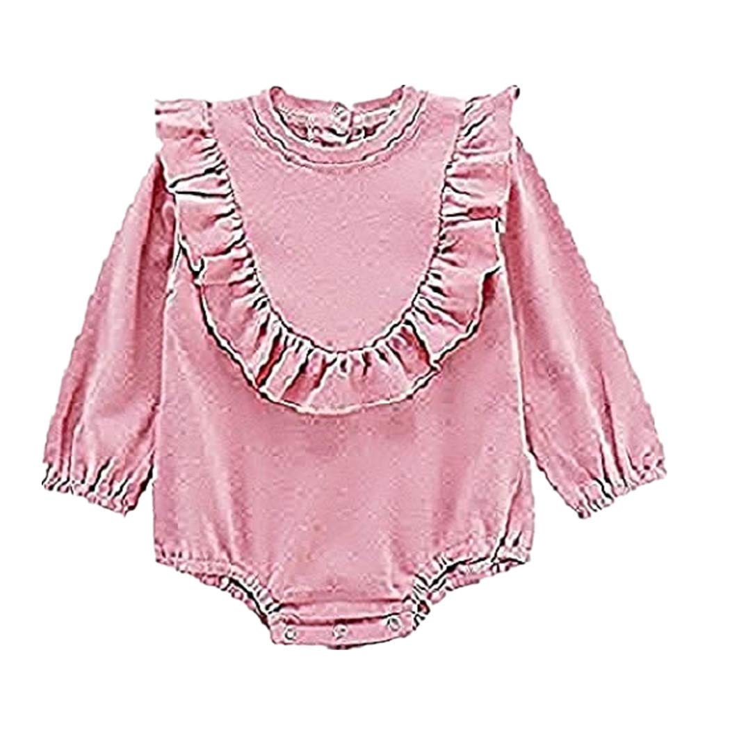 Waymine Infant Girl Long Sleeve Solid Romper Small Flying Sleeve Bodysuit Outfit