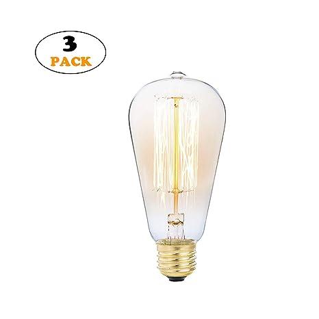 NINEZ of Edison Bombilla E27, juego de 3 bombillas vintage ...