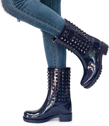 Bota Lluvia Mujer Altas Bota Goma Bota Impermeable Botines Wellington Boots Exterior Zapatos Planos Antideslizante Trabajo Jardín Invierno Negro Azul