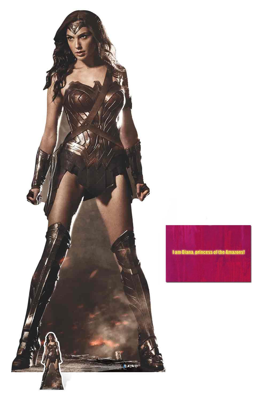 Fan Pack - Wonder Woman (Gal Gadot) Lifesize and Mini Cardboard Cutout / Standup / Standee - Includes 8x10 Star Photo