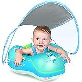Flotador inflable de bebé con toldo de protección solar, con protección en la espalda, no se voltea, para niños(as) de 3 a 36
