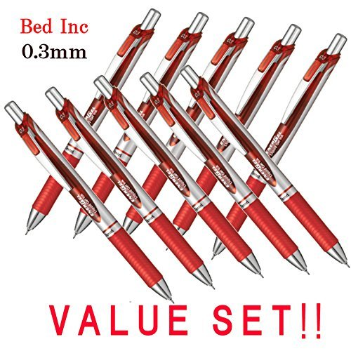 Pentel New EnerGel Deluxe RTX Retractable Liquid Gel Pen,Ultra Micro Point 0.3mm, Fine Line, Needle Tip, Red Ink Japanese Box of 10 (With Our Shop Original Product (0.3 Mm Fine Tip)