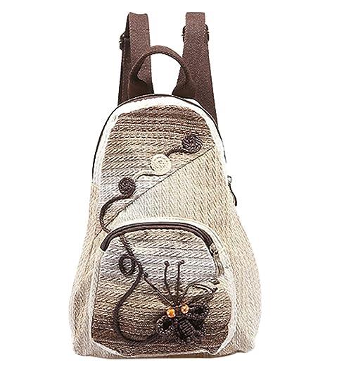 YAANCUN Mujer Casual Mochila de Tela Mochilas Escolares Mochilas de Colegio Bolsos de Viaje con Tejeduría Mariposa: Amazon.es: Zapatos y complementos