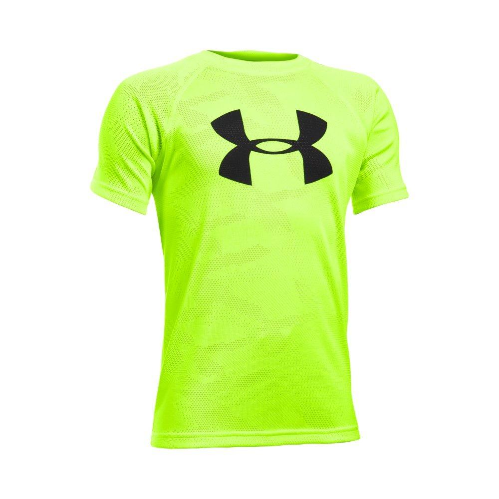 Under Armour Boys' Tech Big Logo Printed Short Sleeve T-Shirt, Fuel Green /Black, Youth X-Small