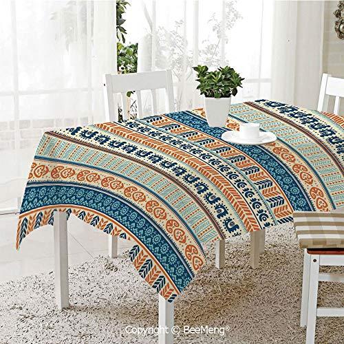 Large dustproof Waterproof Tablecloth,Family Table Decoration,Tibal,Aztec Ancient Vintage Ethnic Pattern with Native American Folk Figures Artisan Art,Merigold Blue,70 x 104 -