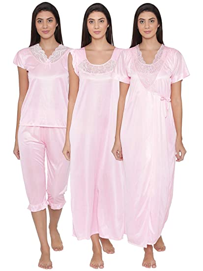 4a4ff4bdcf Clovia Women 4 Pcs Satin Nightwear In Baby Pink - Robe