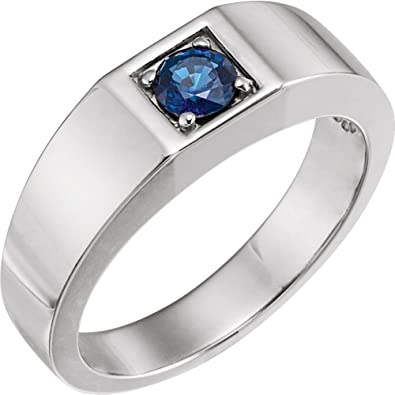 d1a311ed31cc Hermoso anillo solitario de oro blanco de 14 K para hombre viene con un  regalo de joyería gratis  Amazon.es  Joyería