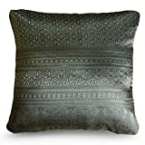 Handmade Throw Pillow Covers Art Decorative Thai silk Sukhothai design Thread 16''x16'' Grey