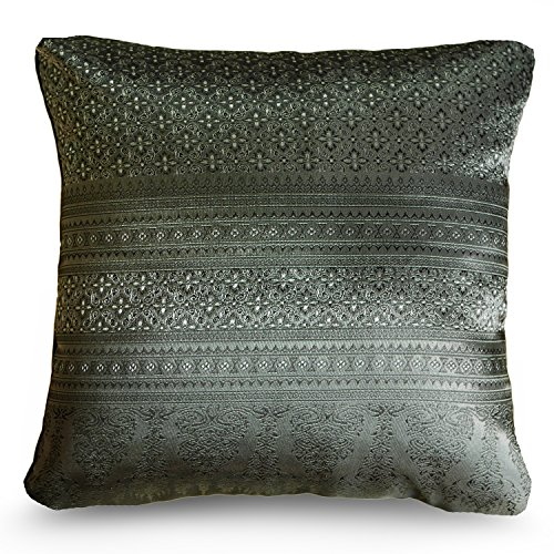Handmade Throw Pillow Covers Art Decorative Thai silk Sukhothai design Thread 16''x16'' Grey by Smartliving