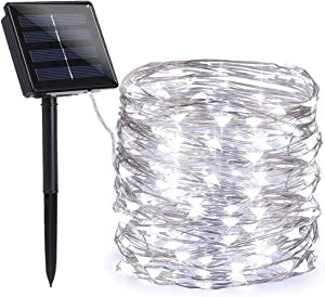 Toodour Solar Christmas Lights, 72ft 200 LED 8 Modes Solar Fairy Lights, Waterproof Solar Outdoor Christmas String Light for Garden, Party, Wedding, Holiday, Christmas Tree Decorations (Pure White)
