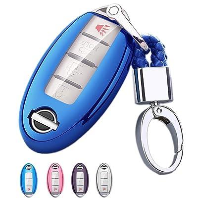 Mofei for Nissan Infiniti Key Fob Cover-Soft TPU Key Fob Case Sleeve Protector Shell Remote Smart Key Holder Jacket with Key Chain for Nissan Armada Murano Rogue Maxima Altima Sedan (Blue): Automotive [5Bkhe0112470]