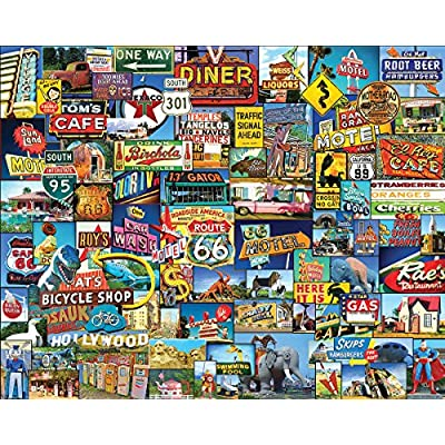 White Mountain Puzzles Roadside America - 1000 Piece Jigsaw Puzzle: Toys & Games