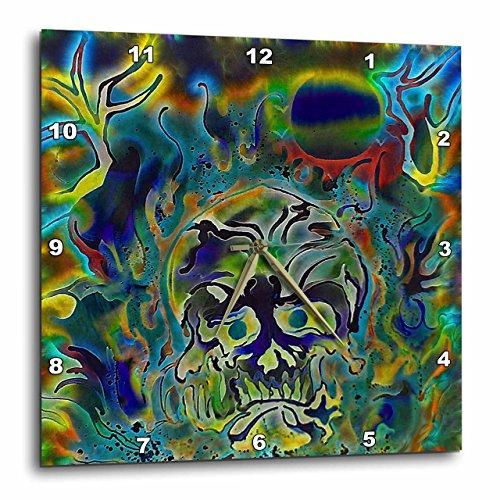 3dRose Trippy Colors Fire Skull Goth Fantasy Abstract Digital Art - Wall Clock, 10 by 10-Inch (DPP_116258_1)
