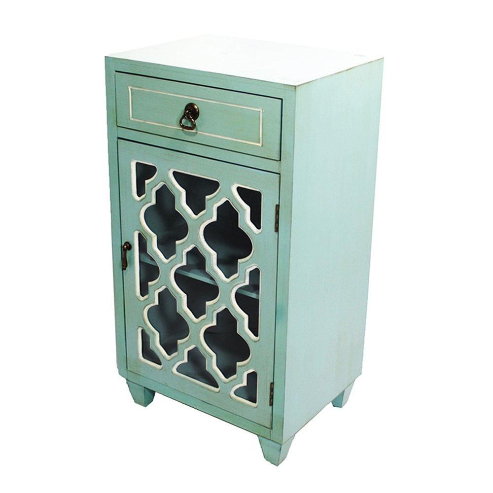 Heather Ann Creations Standing Single Drawer Distressed Storage Cabinet with Multi Clover Glass Window Inserts, 30'' x 18'', Aqua