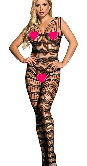 bacf828576d marysgift Frauen Fischnetz Body Strumpf Bodysuit Dessous Catsuit Reizwäsche Fishnet  Bodystocking Größe 32-50  Amazon.de  Bekleidung