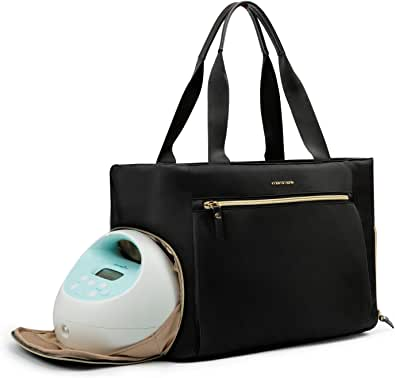 mommore Breast Pump Bag Diaper Tote Bag with 15 Inch Laptop Sleeve Fit Most Breast Pumps like Medela, Spectra S1,S2, Evenflo
