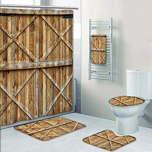 - aolankaili 5 Piece Bath Rug Set, Traditional Wooden Door with Cross Print Bathroom Rugs Shower Curtain/Rings and Both Towels