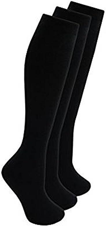 Ladies /& Girls Knee High Length Cotton Rich Everyday School Socks 3 Pair Multi Pack
