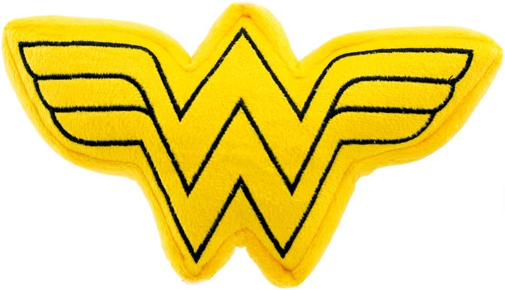 Buckle-Down Dog Toy Plush Wonder Woman Logo Icon Yellow Black