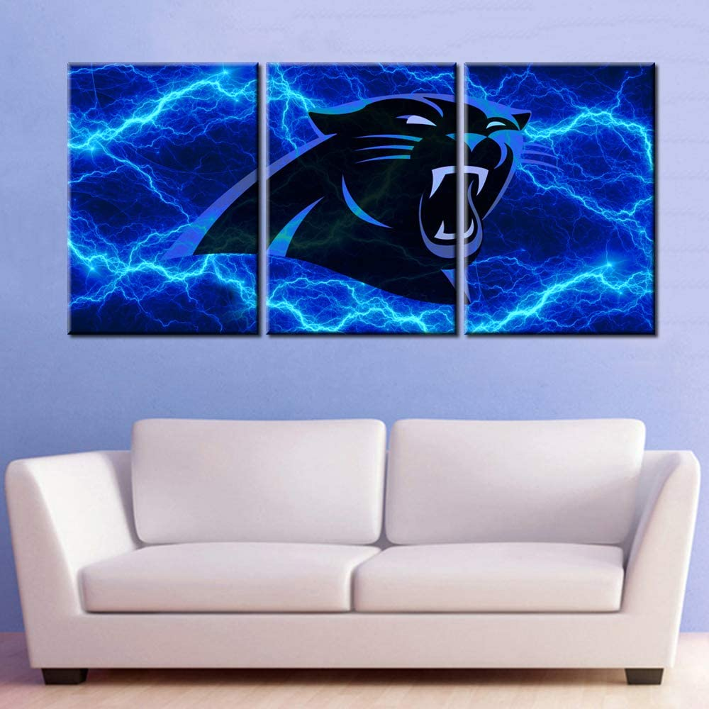 Native American Decor Football Pictures Living Room House Decoration Patriotic Paintings 3 Piece Canvas Wall Art Carolina Panthers Artwork Poster and Prints Framed Ready to Hangs(42''W x 20''H)