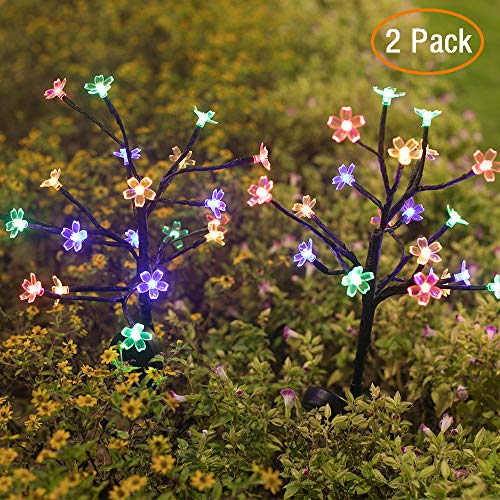 Jack & Rose Solar Lights Outdoor Pathway Solar Garden Lights, Beautiful 20 LED Fairy Flower Lights, Solar Powered Outdoor Lights Multi-Color Twinkle Lights for Walkway Patio Yard Garden Christmas (Christmas Decorations Solar Powered)