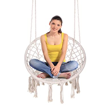 ENKEEO Hammock Chair Macrame Swing, Hanging Rope Chair Cotton Fabric for Indoor & Outdoor Home Bedroom Garden Patio Balcony and More (Max Loads 290 lbs)