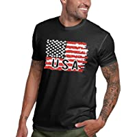LUKYCILD American Vintage Flag Men T-Shirt Classic Patriot USA July Fourth Gift Tops
