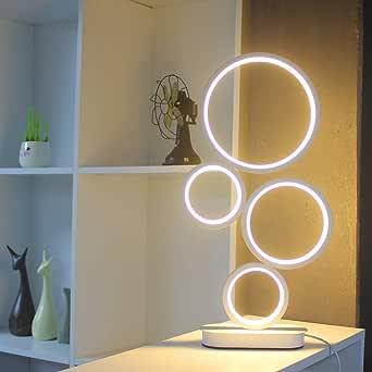 LENIVER LED Table Lamp, Modern Dimmable Bedside Table Light, 18W, 3 Color Modes, for Living Room, Bedroom, Office, Nightstand, Bookshelf (White)
