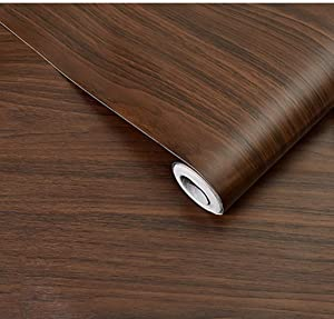 BESTERY REDODECO Adhesive Wood Grain Paper Peel and Stick Furniture Stickers Wallpaper Cabinets Wardrobe Contact Paper,15.8inch by 98in (Dark Brown)