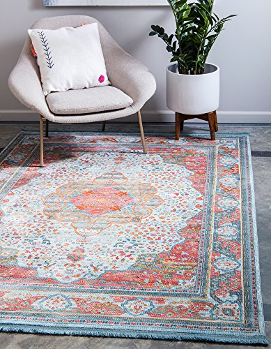 Unique Loom Baracoa Collection Bright Tones Vintage Traditional Light Blue Area Rug (8' 4 x 10' 0) (Traditional Living Rooms 10 Of The Best)