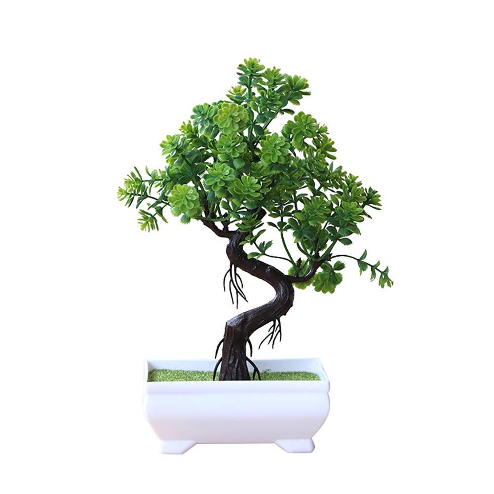 UanBO9wykh Artificial Potted Tree Bonsai Plant for Home Office Desk Decor Green