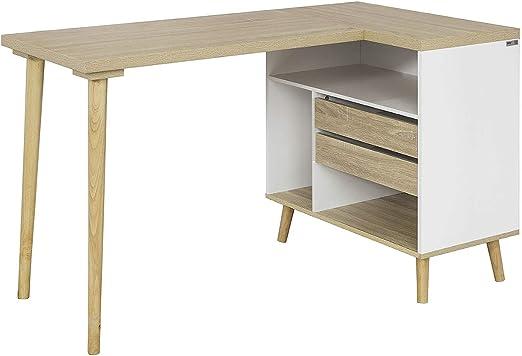SoBuy® Mesa de escritorio, Mesa de ordenador con 2 cajones y 3 ...