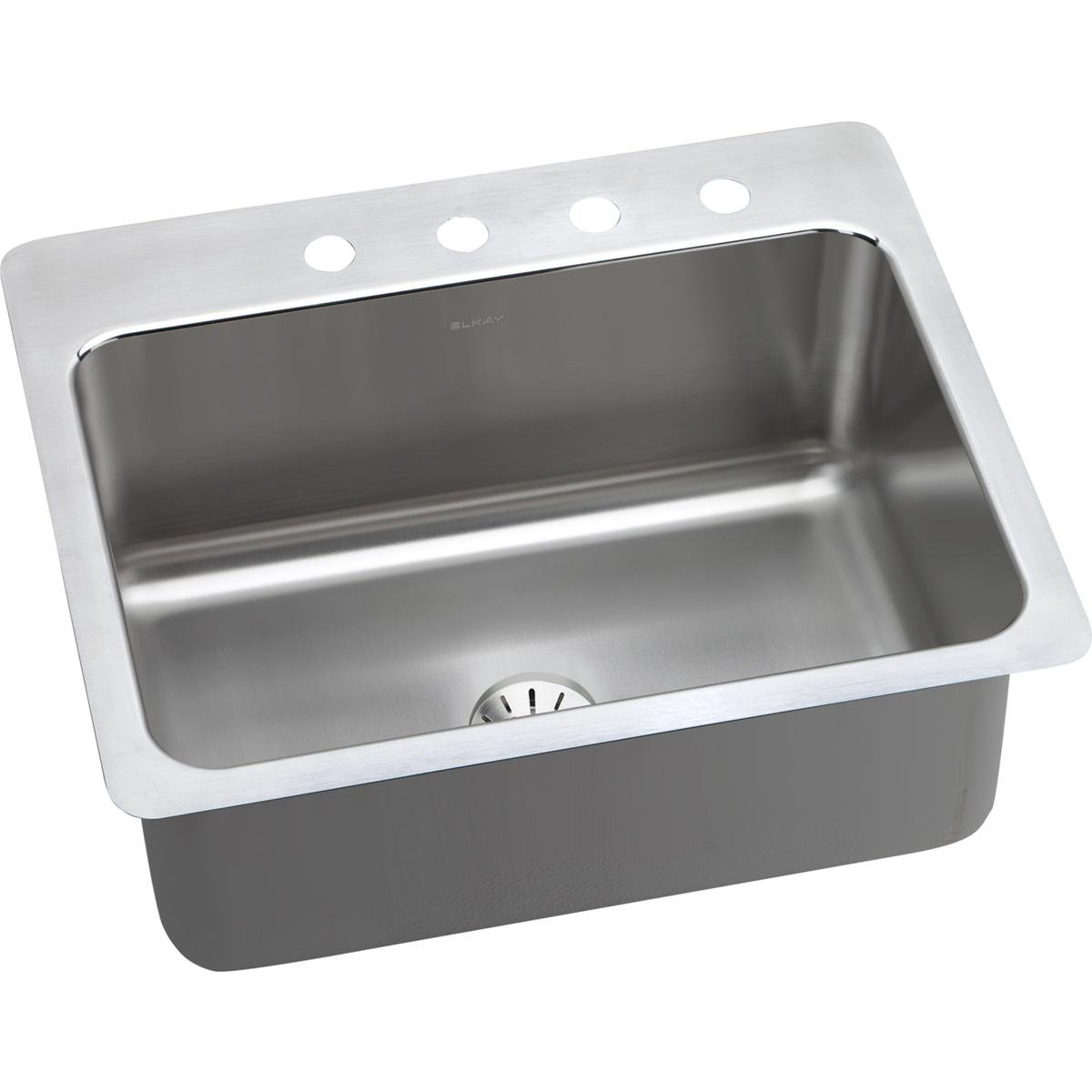 Elkay Lustertone DLSR272210PD1 Single Bowl Dual Mount Stainless Steel Sink with Perfect Drain