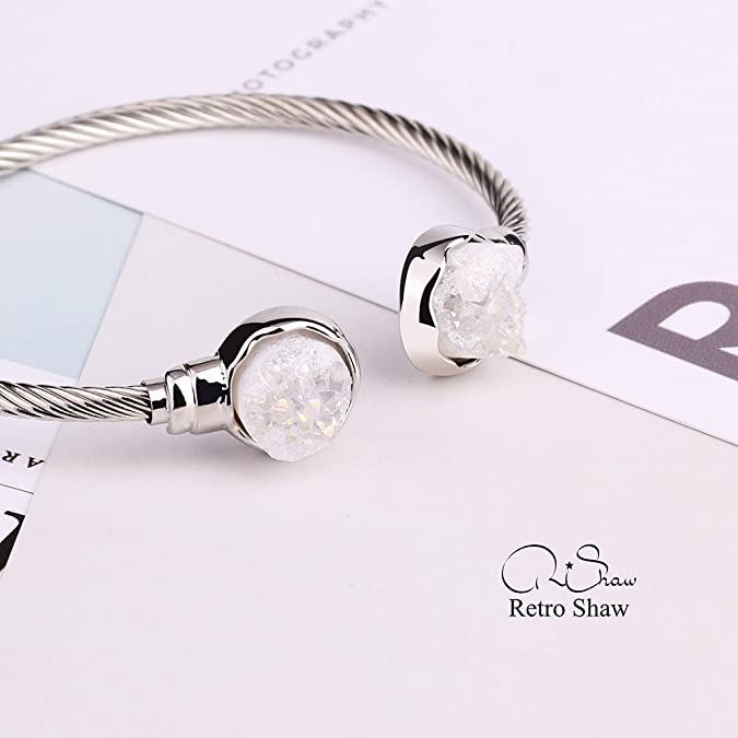 Retro Shaw Natural Crystal Bracelet White Gold Plated Bangle Bracelet for Women Adjustable Bracelet Gifts Nickel Free h0GJBGojr