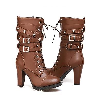 Rcool Zapatos de tacón zapatos de tacón alto mujer zapatos de tacón transparentes,Botas de moto para mujer Remache con cinturón de tacones altos Botas de ...