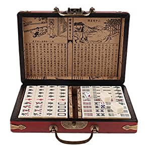 Baosity Conjunto de Mahjong con Caja de Madera de Almacenaje