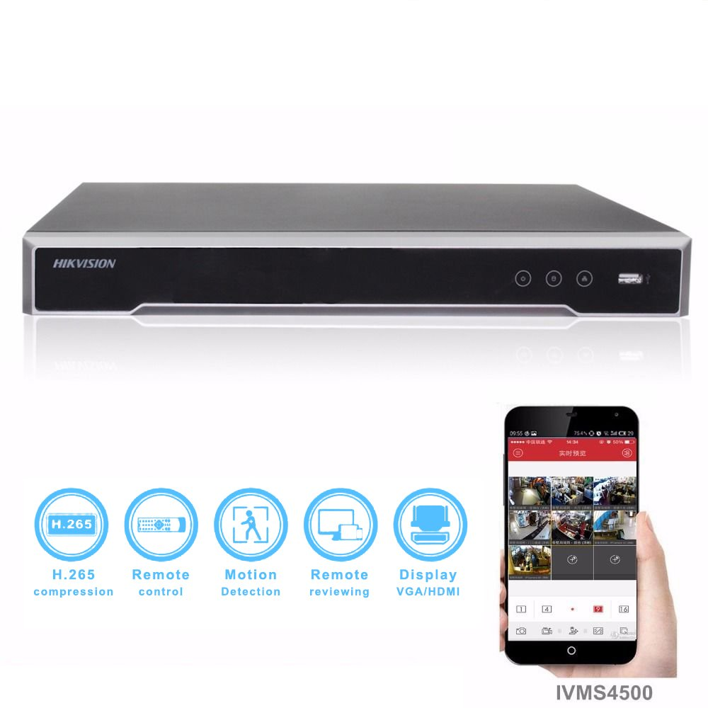 For Hikvision NVR DS-7616NI-I2/16P 4K 16Channel Network Video Recorder Embedded Plug & Play Up to 12 Megapixels resolution recording English Version