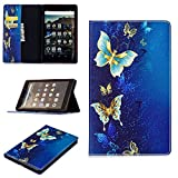 "PC Hardware : LaoTzi Folio Case for Amazon Fire HD 8 Tablet (8"" 7th Generation, 2017 Release) - Cute Cartoon Folio Premium PU Leather Standing Protective Cover - Blue Butterfly"