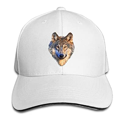Macevoy Big Wolf Head Casual Unisex Unstructured Cotton Cap Adjustable Baseball Hat Cap White: Clothing