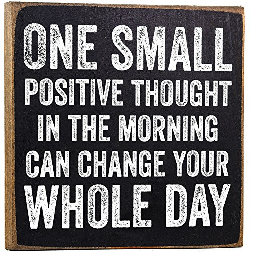 Saying Sign - Make Em Laugh One Small Positive Thought Wooden Sign