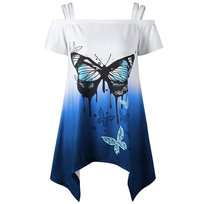 fb45e50328be TUDUZ Damen Sommer Große Größe Schulterfrei Schmetterling Druck Kurzarm T-Shirt  Oberteile Tops Bluse  Amazon.de  Bekleidung