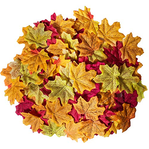 (Bassion 300 Pcs Assorted Mixed Fall Colored Artificial Maple Leaves for Weddings, Events and Decorating)