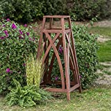 44'' Brown Finish Eucalyptus Wood Garden Obelisk Plant Trellis Outdoor Gardening