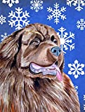 Caroline's Treasures LH9264CHF Newfoundland Winter Snowflakes Holiday Flag Canvas, Large, Multicolor For Sale